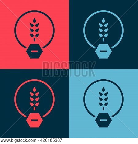 Pop Art Gluten Free Grain Icon Isolated On Color Background. No Wheat Sign. Food Intolerance Symbols