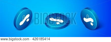 Isometric Escalator Up Icon Isolated On Blue Background. Blue Circle Button. Vector