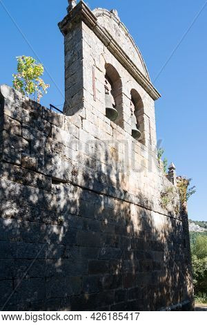 Close Up Of A Tower Bell Of An Ancient Church At Merindades, Burgos, Spain, Europe