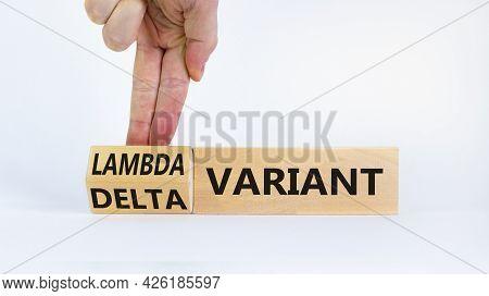Covid-19 Delta Or Lambda Variant Symbol. Doctor Turns Cubes, Changes Words Delta Variant To Lambda V