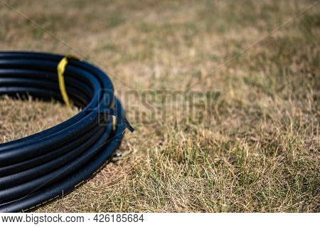 Coil Of 1 Inch Irrigation Tubing Ready For New Installation On Top Of Brown And Damaged Dry Grass.