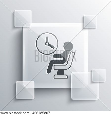Grey Human Waiting In Airport Terminal Icon Isolated On Grey Background. Square Glass Panels. Vector