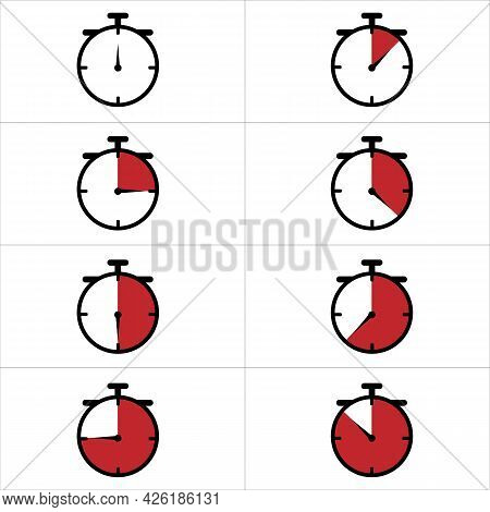 Timer, Clock, Stopwatch Icon Set Isolated On White Background. Countdown Timer Symbol.