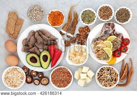 Food collection and herbal medicine for sufferers of bipolar and manic depression disorders high in vitamins, selenium, magnesium, serotonin and tryptophan.