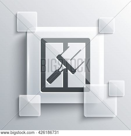 Grey Cleaning Service With Of Rubber Cleaner For Windows Icon Isolated On Grey Background. Squeegee,