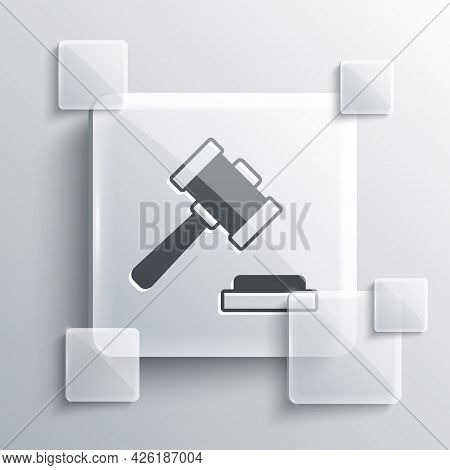 Grey Judge Gavel Icon Isolated On Grey Background. Gavel For Adjudication Of Sentences And Bills, Co