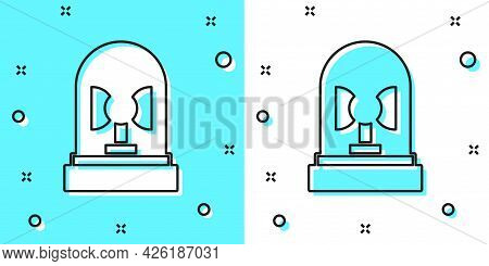 Black Line Flasher Siren Icon Isolated On Green And White Background. Emergency Flashing Siren. Rand