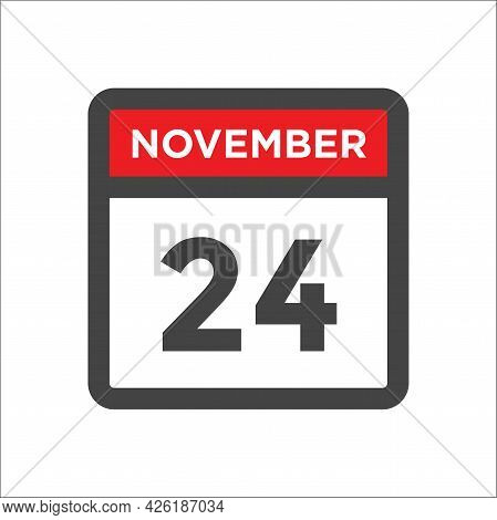 November 24 Calendar Icon W Day Of Month