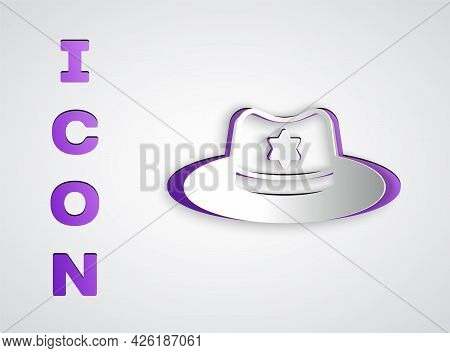 Paper Cut Sheriff Hat With Badge Icon Isolated On Grey Background. Paper Art Style. Vector