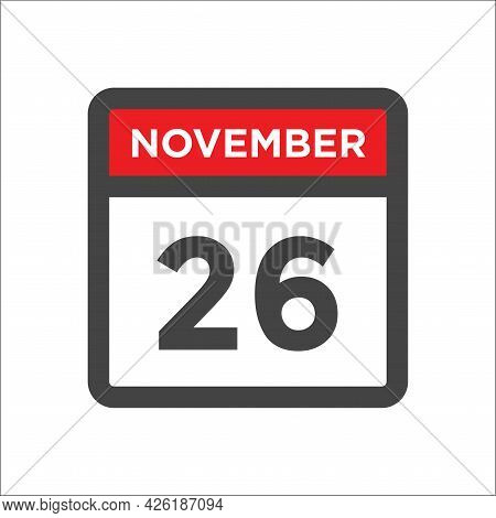 November 26 Calendar Icon W Day Of Month
