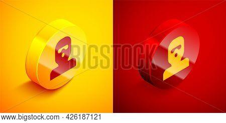 Isometric Thief Mask Icon Isolated On Orange And Red Background. Bandit Mask, Criminal Man. Circle B