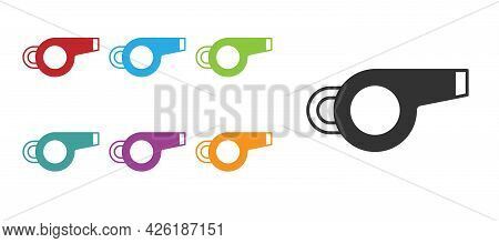 Black Whistle Icon Isolated On White Background. Referee Symbol. Fitness And Sport Sign. Set Icons C