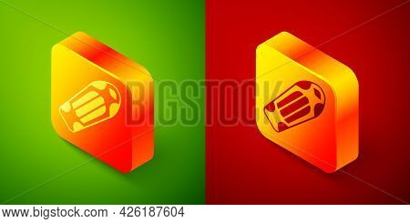 Isometric Skateboard Deck Icon Isolated On Green And Red Background. Extreme Sport. Sport Equipment.