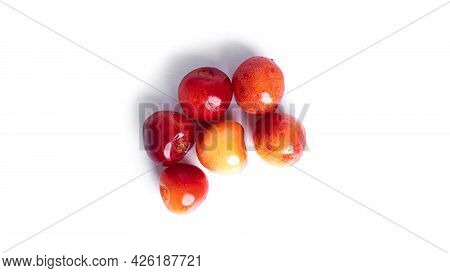 Cherry Isolated On A White Background. Sweet Cherry Berries On A White Background. Red Berries Are I