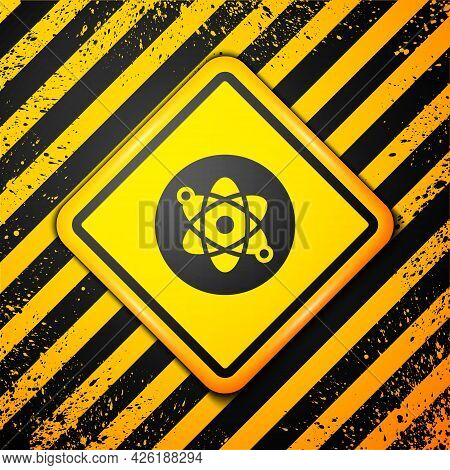 Black Atom Icon Isolated On Yellow Background. Symbol Of Science, Education, Nuclear Physics, Scient