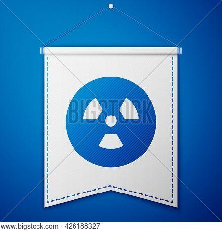 Blue Radioactive Icon Isolated On Blue Background. Radioactive Toxic Symbol. Radiation Hazard Sign.