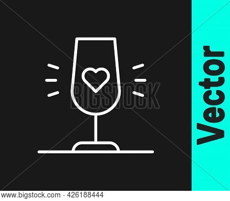 White Line Wine Glass Icon Isolated On Black Background. Wineglass Sign. Favorite Wine. Vector
