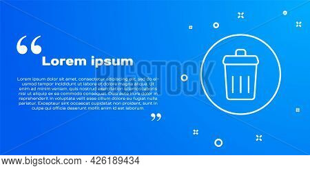 White Line Trash Can Icon Isolated On Blue Background. Garbage Bin Sign. Recycle Basket Icon. Office