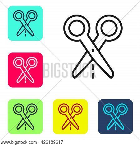 Black Line Scissors With Cut Line Icon Isolated On White Background. Tailor Symbol. Cutting Tool Sig