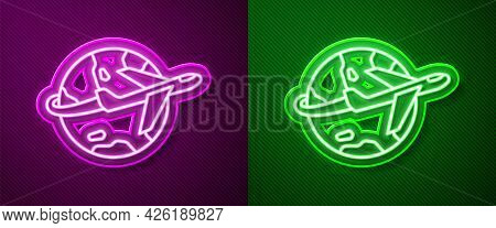 Glowing Neon Line Globe With Flying Plane Icon Isolated On Purple And Green Background. Airplane Fly