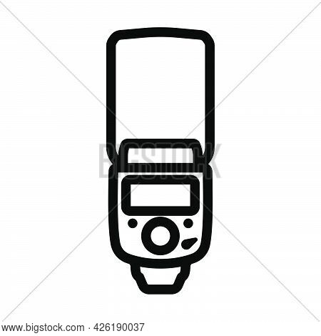 Icon Of Portable Photo Flash. Bold Outline Design With Editable Stroke Width. Vector Illustration.