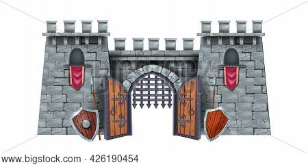 Stone Castle Tower, Vector Medieval City Gate Illustration, Iron Grate, Wooden Shield, Spear. Brick