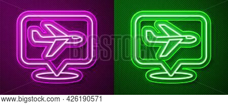 Glowing Neon Line Plane Icon Isolated On Purple And Green Background. Flying Airplane Icon. Airliner