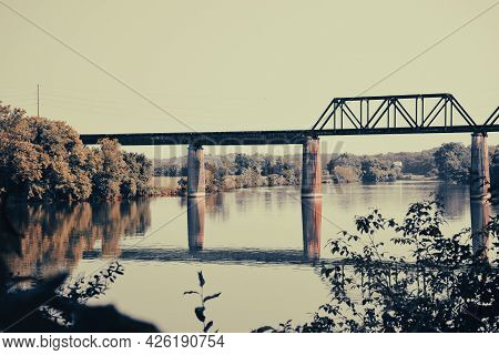 Old Rustic Railroad Bridge Over The Tennessee River In Knoxville, Tennessee