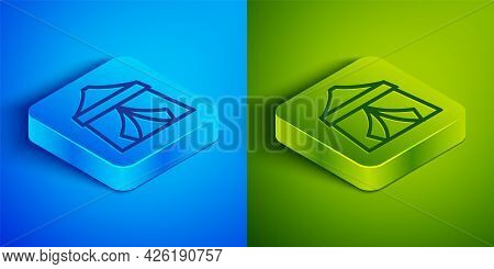 Isometric Line Circus Tent Icon Isolated On Blue And Green Background. Carnival Camping Tent. Amusem