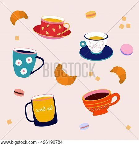 Cute Set Of Vector Cups And Glasses For A Coffee Or Tea Break. Cup, Coffee To Go, Coffee, Glass, Cap