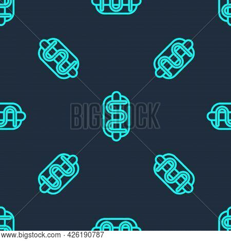 Green Line Hotdog Sandwich Icon Isolated Seamless Pattern On Blue Background. Sausage Icon. Fast Foo