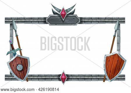 Stone Game Frame, Brick Medieval Rpg Interface Menu, Wooden Knight Shield, Spear, Metal Sword. Fanta