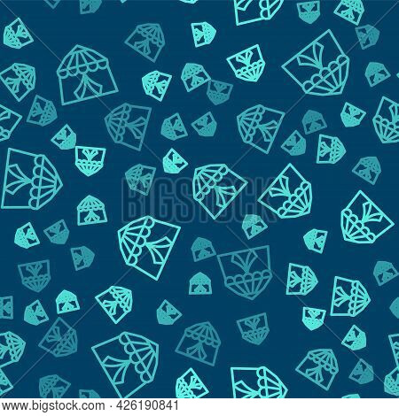 Green Line Circus Tent Icon Isolated Seamless Pattern On Blue Background. Carnival Camping Tent. Amu