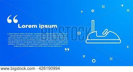 White Line Bumper Car Icon Isolated On Blue Background. Amusement Park. Childrens Entertainment Play