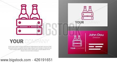 Logotype Line Pack Of Beer Bottles Icon Isolated On White Background. Wooden Box And Beer Bottles. C