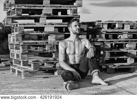Time To Relax. Naked Strong Man. Muscular Strong Man Has Bristle On Face. Athletic Body Shape. Shirt