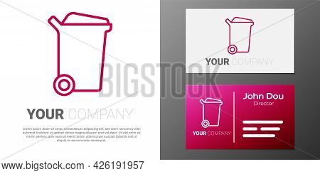 Logotype Line Trash Can Icon Isolated On White Background. Garbage Bin Sign. Recycle Basket Icon. Of
