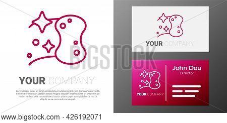 Logotype Line Sponge Icon Isolated On White Background. Wisp Of Bast For Washing Dishes. Cleaning Se
