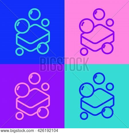 Pop Art Line Bar Of Soap Icon Isolated On Color Background. Soap Bar With Bubbles. Vector
