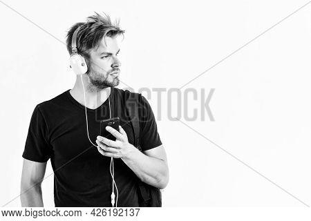 Mp3 Player Concept. Music Application. Enjoy Sound Headphones. Music Gadget. Musical Accessory Gadge