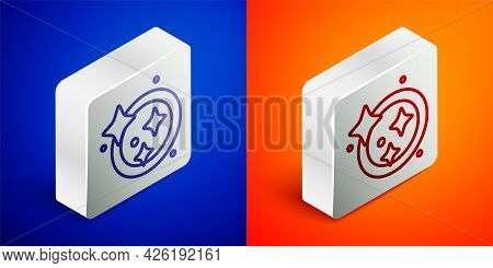Isometric Line Washing Dishes Icon Isolated On Blue And Orange Background. Cleaning Dishes Icon. Dis