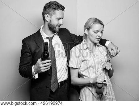 Alcoholism Problem. Unacceptable Behavior. Couple Man And Woman Problem. Family Conflict. Drunk Man.