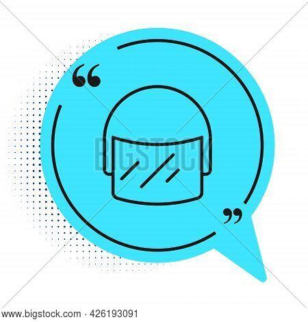 Black Line Police Helmet Icon Isolated On White Background. Military Helmet. Blue Speech Bubble Symb