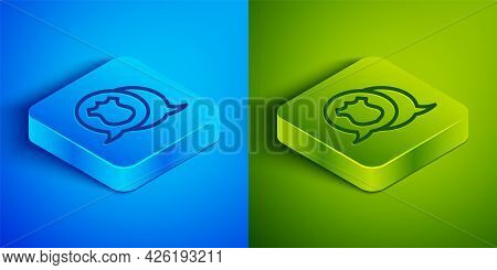 Isometric Line Police Badge Icon Isolated On Blue And Green Background. Sheriff Badge Sign. Square B