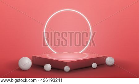 Square Pink Podium With White Realistic Spheres Around And Neon Ring On Background