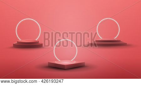 Set Of Podiums With White Neon Rings On Background For Your Arts