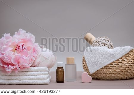 Spa Concept, Personal Care Items In Gentle Tones, Peony Flower, Wooden Instruments, Ampoules With Me