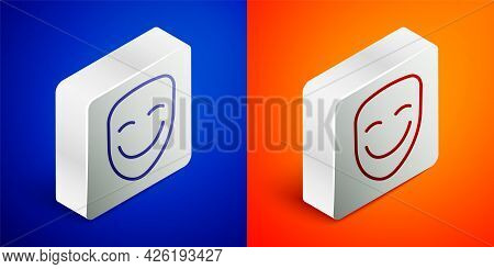 Isometric Line Comedy Theatrical Mask Icon Isolated On Blue And Orange Background. Silver Square But