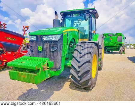 Kyiv, Ukraine - June 16, 2020: The Grain Seeder And Powerful Tractor John Deer
