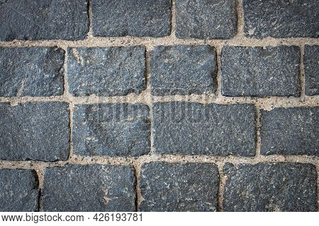Gray Antique Granite Masonry, Road Paving, Stone Mill Background, Mock Up For Design, Close Up, Ston